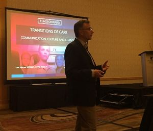 Lee Varner, Center for Patient Safety director of EMS services, described the importance of transitions of cares as critical to patient safety in a session at the Pinnacle EMS leadership conference. (Photo courtesy of Greg Friese)