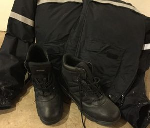 Brand new, albeit dusty, Bates boots and Blauer coat I am donating to a Uniform Closet for paramedic students in need. (Photo/Courtesy of Greg Friese)