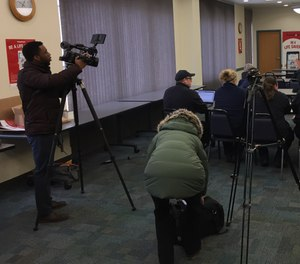 Members of the media prepare to report on the launch of the PulsePoint app in Portage County, Wisconsin. (Photo/Greg Friese)