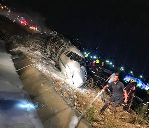 The plane went off the runway while landing due to a technical malfunction. (Photo/AP)