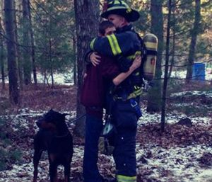 Jason Penwell said he responded to the call without knowing it was his own home, and his son, Trevor, had already been inside the home four times to rescue the family pets. (Photo/GoFundMe)