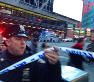 Police respond to a report of an explosion near Times Square on Monday, Dec. 11, 2017, in New York. (AP Photo/Charles Zoeller)
