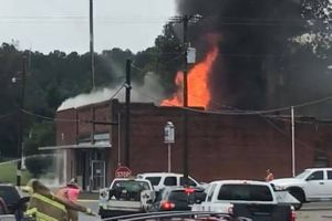 The Macclesfield Volunteer Fire Department station was destroyed in a blaze, as well as three department vehicles and virtually all of the equipment. (Photo/GoFundMe)