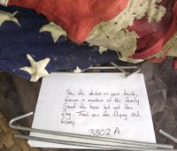 Firefighters leave kind note, tattered flag on porch after saving home