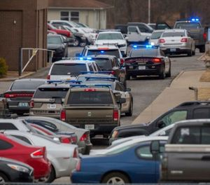 Emergency crews respond to Marshall County High School after a fatal school shooting Tuesday, Jan. 23, 2018, in Benton, Ky. (Ryan Hermens/The Paducah Sun via AP)