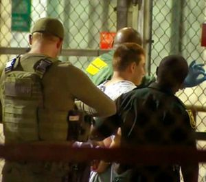 In this frame grab from video provided by WPLG-TV, police take Nikolas Cruz into Broward County jail on Thursday, Feb. 15, 2018 in Fort Lauderdale, Fla. (WPLG-TV via AP)