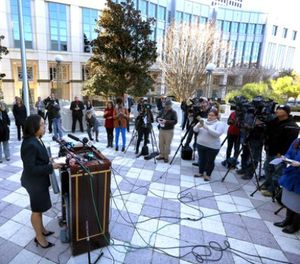 In a press conference on the steps of the Orange County Courthouse Thursday, March 16, 2017, Orange-Osceola State Attorney Aramis Ayala announces that her office will no longer pursue the death penalty as a sentence in any case brought before the 9th Judicial Circuit of Florida. (Joe Burbank/Orlando Sentinel via AP)