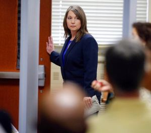 Tulsa Police Officer Betty Shelby enters the courtroom Monday, May 15, 2017, in Tulsa, Okla., for her manslaughter trial in the shooting of Terence Crutcher. (Mike Simons/Tulsa World via AP)