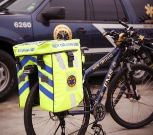 With Mardi Gras quickly approaching, the New Orleans EMS bike team is prepared for on-the-go emergencies, thanks to customized bike panniers from Openhouse Products. (Photo/NOEMS Foundation Facebook)