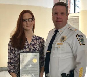 "Bucks County Commissioners and Perkasie police Chief Steven Hillias said Patricia Ebinger's ""calm, professional and life-preserving services"" saved the child, who suffered near-fatal injuries in the January attack. (Photo/Buck's County 911 Facebook)"