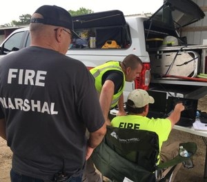 Fire marshals begin review of drone footage as part of their fire investigation of a structure fire. (Photo/Sampson County)