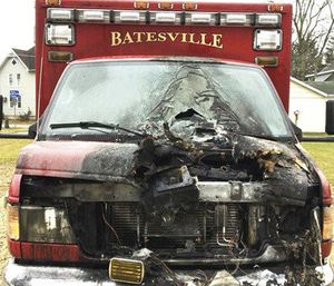 Officials said an engine fire in the Batesville Fire & Rescue ambulance caused the blaze while it was parked at the station. (Photo/Batesville Fire & Rescue)