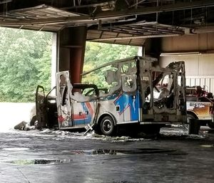 An ambulance and a truck used for extinguishing brush fires were badly burned at a Camden County fire station. (Photo/Camden County Fire Dept.)