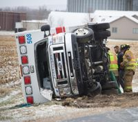 3 EMTs injured during ambulance rollover