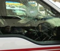Man arrested for shattering ambulance window with rock
