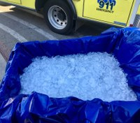 Medics use shopping cart full of ice to immerse patient suffering heat stroke