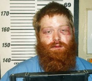 This undated booking photo released by the Waldo County Jail in Maine shows Brian Fogg, who's accused of punching himself in the face to avoid a sobriety breath test. (Waldo County Jail via AP)