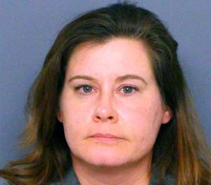 This undated booking photo provided by the Denver police shows Colorado state Rep. Lori Saine. (Denver Police via AP)