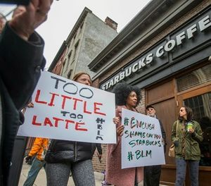 What can police leaders learn from the coffee giant's response to accusations of racism? (Michael Bryant/The Philadelphia Inquirer via AP)