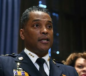 In this Jan. 19, 2018, file photo, Darryl DeSousa takes questions at City Hall after replacing Kevin Davis as police commissioner, in Baltimore. DeSousa has been charged with three misdemeanor counts of failure to file taxes. (Kim Hairston/The Baltimore Sun via AP, File)