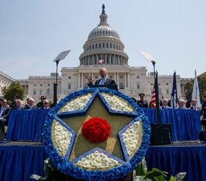 President Donald Trump speaks during the 37th annual National Peace Officers Memorial Service on Capitol Hill, Tuesday, May 15, 2018, in Washington. (AP Photo/Evan Vucci)