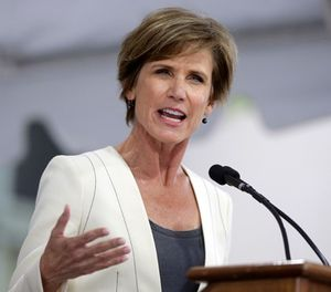 This May 24, 2017, file photo shows former U.S. Deputy Attorney General Sally Yates delivering an address in Cambridge, Mass. Yates will lead an independent investigation into a report that Minneapolis police officers have repeatedly asked medical responders to sedate people with the powerful tranquilizer ketamine. (AP Photo/Steven Senne, File)