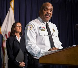 In this file photo, Chicago Police Superintendent Eddie Johnson speaks at a news conference in Chicago. (Rich Hein/Chicago Sun-Times via AP, File)