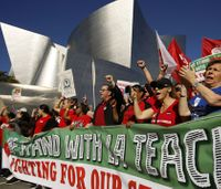 Firefighters march in support of striking LA teachers