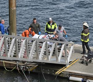 Emergency response crews transport an injured passenger to an ambulance at the George Inlet Lodge docks, Monday, May 13, 2019, in Ketchikan, Alaska. The passenger was from one of two sightseeing planes reported down in George Inlet early Monday afternoon and was dropped off by a U.S. Coast Guard 45-foot response boat. (Dustin Safranek/Ketchikan Daily News via AP)