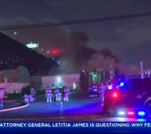 In this early Saturday, May 18, 2019 image made from video provided by WCBS TV, smoke billows over the Pulaski Skyway from a fire at the Alden Leads chlorine plant in Kearny, N.Y. Authorities say the fire has been brought under control, but road and bridge closures remained in effect and local residents were urged to remain indoors due to potential danger from fumes. (WCBS TV via AP)