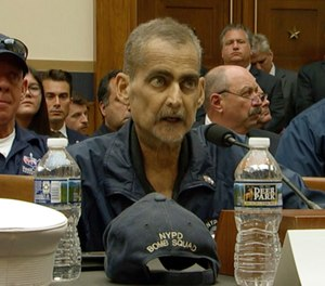 This still image taken from video shows Retired NYPD Detective and 9/11 Responder Luis Alvarez speaking during a hearing by the House Judiciary Committee as it considers permanent authorization of the Victim Compensation Fund, on Capitol Hill in Washington, Tuesday, June 11, 2019. (US Network Pool via AP, Pool)