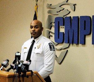 Police Chief Kerr Putney addresses reporters at his weekly briefing on Wednesday, March 29, 2017, in Charlotte, N.C. (AP Photo/Skip Foreman)