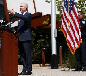 Attorney General Jeff Sessions answers a question during a news conference after touring the U.S.-Mexico border with border officials, Tuesday, April 11, 2017, in Nogales, Ariz. (AP Photo/Ross D. Franklin)