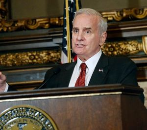 Minnesota Gov. Mark Dayton talks about the status of bills before the legislature during a news conference Thursday, May 11, 2017, in St. Paul, Minn. (AP Photo/Jim Mone)