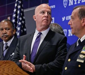 New York Police Department (NYPD) Commissioner James O'Neill, center, Deputy Commissioner Benjamin Tucker, left, and Chief of Department Carlos Gomez, right, prepare for a press conference after a swearing-in ceremony for new police recruits entering the Police Academy, Thursday, July 6, 2017, in New York. (AP Photo/Bebeto Matthews)