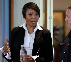 Dallas Police Chief Reneé Hall talks during an applicant processing event at police headquarters in Dallas, Thursday, Sept. 7, 2017. (AP Photo/LM Otero)