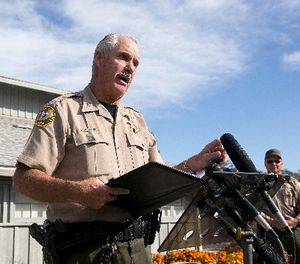 Phil Johnston, the assistant sheriff for Tehama County, briefs reporters on the shootings near the Rancho Tehama Elementary School, Tuesday, Nov. 14, 2017, in Corning, Calif. (AP Photo/Rich Pedroncelli)
