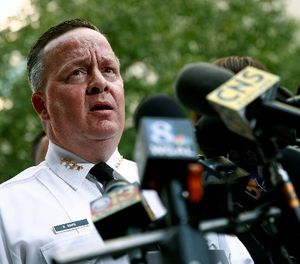 Baltimore Police Department Commissioner Kevin Davis speaks at a news conference outside the R Adams Cowley Shock Trauma Center in Baltimore, Thursday, Nov. 16, 2017, to announce the death of Det. Sean Suiter. (AP Photo/Patrick Semansky)