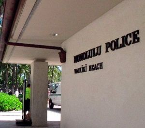 This March 19, 2014, file photo a Honolulu Police Department station in Honolulu's tourist area of Waikiki. (AP Photo/Oskar Garcia, File)