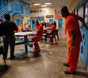Inmates inside the veteran's pod at the Albany County Correctional Facility, Monday, Nov. 27, 2017, in Albany, N.Y. (AP Photo/Julie Jacobson)
