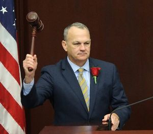 House speaker Richard Corcoran, R-Land O'Lakes, pounds the gavel to start the first day of legislative session, Tuesday, Jan. 9, 2018, in Tallahassee, Fla. (AP Photo/Steve Cannon)