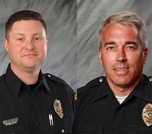 These undated file photos provided by the City of Westerville, Ohio show Officers Eric Joering, 39, left, and Anthony Morelli, 54, who were fatally shot while responding to a hang-up 9-1-1 call on Saturday, Feb. 10, 2018. (City of Westerville via AP, File)