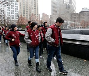 A high school trip to the Sept. 11 museum takes on a special significance because the students endured violence and loss themselves when a gunman killed 17 people at their school last month. (AP Photo/Richard Drew)