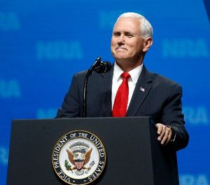 Vice President Mike Pence smiles as he speaks at the National Rifle Association Leadership Forum in Dallas, Friday, May 4, 2018. (AP Photo/Sue Ogrocki)