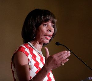 Baltimore Mayor Catherine Pugh delivers an address during her inauguration ceremony inside the War Memorial Building in Baltimore, Tuesday, Dec. 6, 2016. (AP Photo/Patrick Semansky)