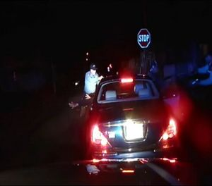 A frame grab from an officer's dashboard camera taken Dec. 30, 2014, and provided by the Bridgeton, N..J. Police Department. A divided New Jersey Supreme Court ruled Monday that police videos of an arrest that led to criminal charges against an officer can be shielded from disclosure under public records laws. (AP Photo/Bridgeton Police Department)