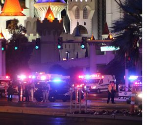 Atmosphere in the immediate aftermath of the mass shooting on the Las Vegas Strip. (Photo/AP)