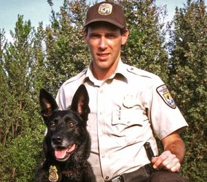 """I've never gotten into a physical altercation with a suspect since I had a K-9,"" said Anthony Merrill of his dog Brenda. ""They not only kept me safe, but they reduce the likelihood of more critical injury to dangerous suspects also."" (Photo/USFWS)"