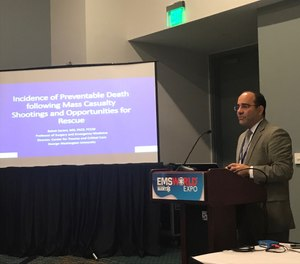 """Babak Sarani, MD, FACS, FCCM, director of the Center for Trauma and Critical Care at George Washington University Hospital in Washington, D.C., presented a session called """"Civilian Mass Shootings: Is death from ballistic wounds preventable?"""" during a session at the 2018 EMS World Expo. (Photo/Nicole M. Volpi)"""