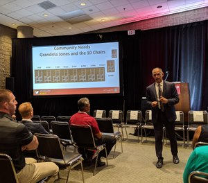 """FireRescue1 and Fire Chief Executive Editor Chief Marc Bashoor presents in his Fire-Rescue International session, """"The fire chief's role as an inspirational politician.""""(Photo/Janelle Foskett)"""